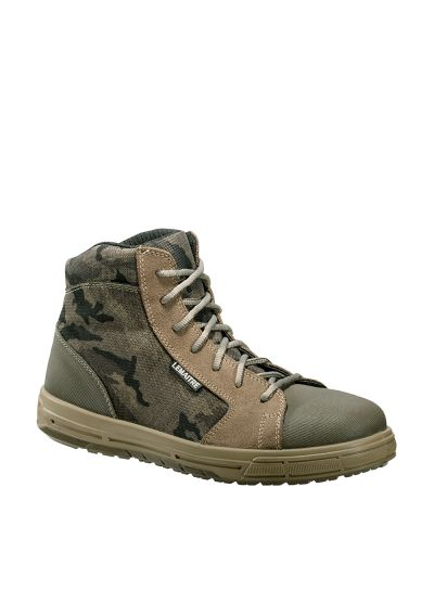 Camouflage-style safety sneaker with ankle support WANTED S1P